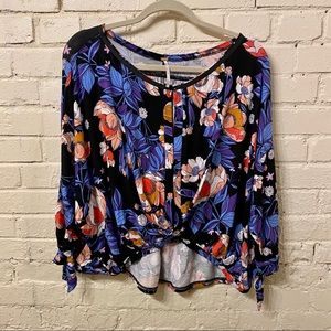 Free People Floral Cropped Top, NWOT, size M